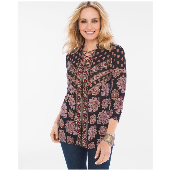 e8b6127fa4b95 Chico s Tops - Chico s Parisian Medallion Lace-Up Top
